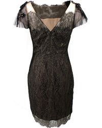 Notte by Marchesa Metallic Lace Cocktail Dress black - Lyst
