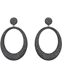 Swarovski Stone Hematitetone Jet Crystal Hoop Pendant Earrings - Lyst