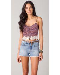 Charlotte Ronson - Floral Silk Cropped Camisole - Lyst