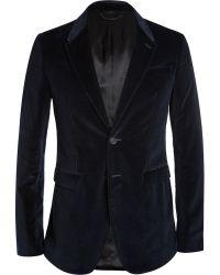 Burberry Prorsum Navy Slim-Fit Velvet Blazer - Lyst