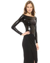 Donna Karan New York Long Sleeve Bateau Gown Black - Lyst