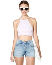 Nasty Gal After Party Vintage Bianca Crop Top Pink - Lyst