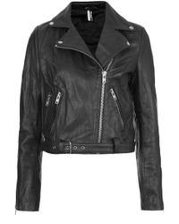 Topshop Premium Belted Leather Biker Jacket - Lyst
