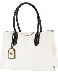 Lauren by Ralph Lauren City Leather Two-Toned Shopper Tote - Lyst