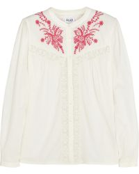 Alice By Temperley Myra Embroidered Cotton Blouse - Lyst