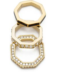 Marc By Marc Jacobs Octagon Stacking Rings - Black - Lyst