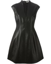 Halston Heritage Fitted V Neck Dress - Lyst