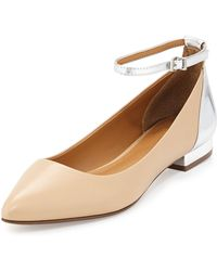 Report Signature Simka Colorblock Leather Ankle-wrap Flat - Lyst