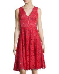 Vera Wang Sleeveless Lace Cocktail Dress - Lyst