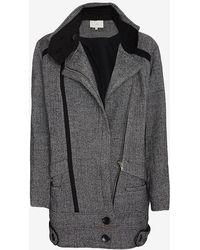 IRO Bailey Oversized Collar Wool Coat: Grey - Lyst
