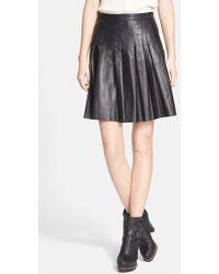 Belstaff 'Luxton' Pleated Nappa Leather Skirt - Lyst