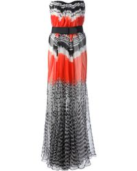 Alexander McQueen Feather Print Strapless Gown - Lyst
