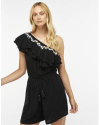 Accessorize - One Shoulder Ruffle Playsuit - Lyst