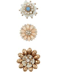Accessorize - 3x Pretty Flower Brooch Set - Lyst