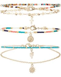 Accessorize - 3x Arizona Charmy Layered Anklet - Lyst