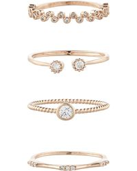 Accessorize | Rose Gold 4x Crystal Stacking Ring Set | Lyst