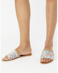 Accessorize - Embroidered Floral Sliders - Lyst