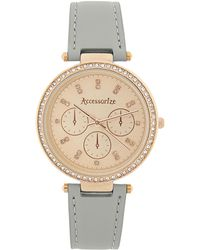 Accessorize - Crystal Bling Leather Watch - Lyst