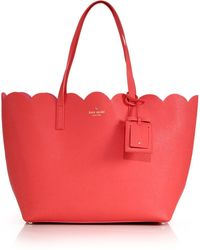 Kate Spade Carrigan Scalloped Saffiano Leather Tote red - Lyst
