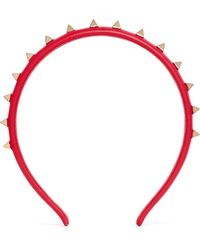 Valentino 'Rockstud' Leather Headband - Lyst