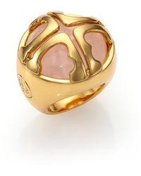 Tory Burch Rose Quartz Logo Dome Ring pink - Lyst