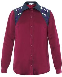 Jonathan Saunders Judith Embroidered Satin Shirt red - Lyst