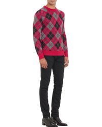 Saint Laurent Pink Argyle Sweater - Lyst