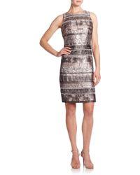 Kay Unger | Metallic Mixed-media Sheath Dress | Lyst