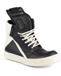 Rick Owens Geobasket Leather High-Top Sneakers - Lyst