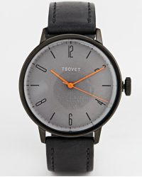 Tsovet Black Leather Strap Watch - Lyst