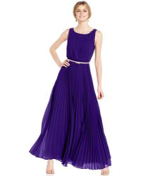 Eliza J Sleeveless Pleated Maxi Dress - Lyst