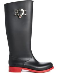 Love Moschino Heart Long Wellington Boots - Lyst