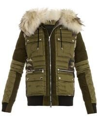 Balmain Fur-trim Camouflage-print Quilted Jacket - Lyst