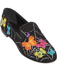 Giuseppe Zanotti 10Mm Embellished Butterfly Suede Loafers - Lyst