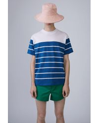 Acne Studios - Naples Stripes chalk White/teal Blue - Lyst