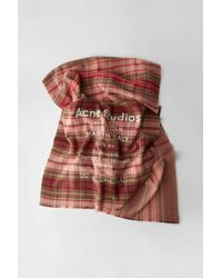 Acne Studios - Checked Logo Scarf pale Pink / Camel Check - Lyst