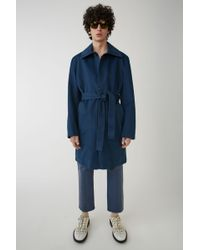 Acne Studios - Belted Trench Coat mineral Blue - Lyst