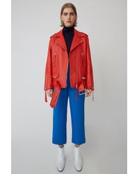 Acne Studios - Oversized Leather Jacket coral Red - Lyst