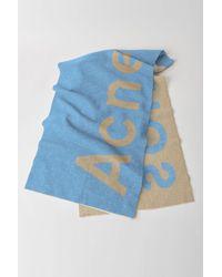 Acne Studios - Logo Scarf beige/blue - Lyst
