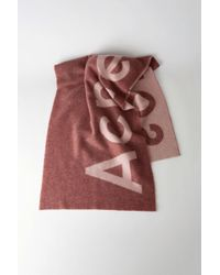 Acne Studios - Toronty Logo Dark Pink Logo Scarf - Lyst