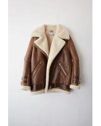 Acne Studios - Velocite Vintage Dark Brown/white Shearling Jacket - Lyst