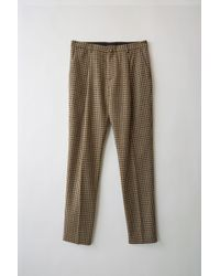 Acne Studios - Boston Check Beige/brown Tapered Leg Trousers - Lyst