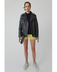 Acne Studios - Oversized Leather Jacket black - Lyst