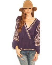 Free People Stitch Up Heart Top In Midnight - Lyst