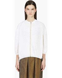 3.1 Phillip Lim White and Beige Popcorn Knit Cardigan - Lyst