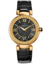 Versace Leda Stainless Steel And Black Mother-Of-Pearl Dial Watch, 38Mm - Lyst