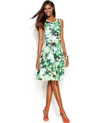 Inc International Concepts Printed Keyhole Flare Dress - Lyst