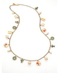 Tory Burch Theresa Rosary Charm Necklace - Lyst