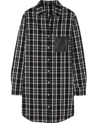 Maje Grunge Leathertrimmed Plaid Flannel Shirt - Lyst