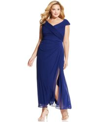 Alex Evenings Plus Size Portrait-Collar Side-Slit Gown - Lyst